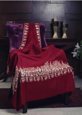 Sanaulla Exclusive Range Embroidered Pashmina  Shawl 19-MIR-100 Maroon - Kashmiri Shawls