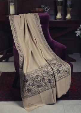 Sanaulla Exclusive Range Embroidered Pashmina  Shawl 19-MIR-107 Fawn - Kashmiri Shawls
