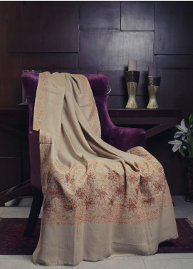 Sanaulla Exclusive Range Embroidered Pashmina  Shawl 19-MIR-113 Fawn - Kashmiri Shawls