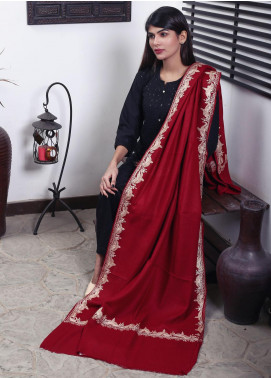Sanaulla Exclusive Range Embroidered Pashmina  Shawl 19-MIR-146 Maroon - Kashmiri Shawls