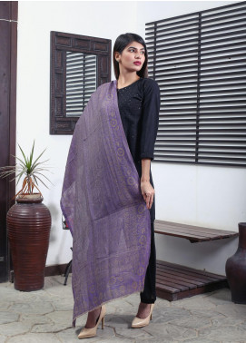 Sanaulla Exclusive Range Embroidered Pashmina  Shawl 19-MIR-18 Purple - Kashmiri Shawls