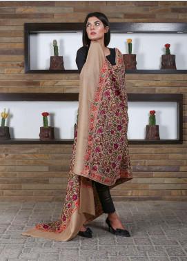 Sanaulla Exclusive Range Embroidered Pashmina Shawl 19-MIR-184 Fawn - Kashmiri Shawls