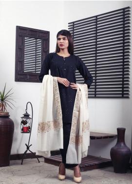 Sanaulla Exclusive Range Embroidered Pashmina  Shawl 19-MIR-185 Off White - Kashmiri Shawls