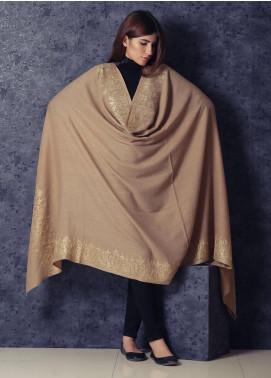 Sanaulla Exclusive Range Embroidered Pashmina  Shawl 19-MIR-188 Brown - Kashmiri Shawls