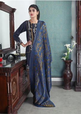 Sanaulla Exclusive Range Embroidered Pashmina Shawl 19-MIR-19 Blue - Kashmiri Shawls