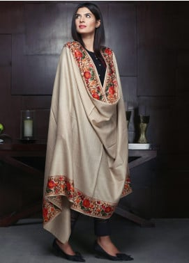 Sanaulla Exclusive Range Embroidered Pashmina Shawl 19-MIR-192 Fawn - Kashmiri Shawls