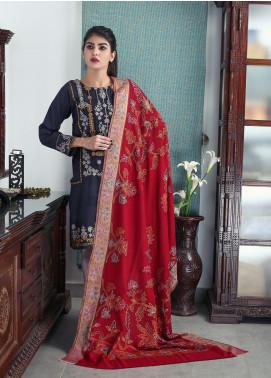 Sanaulla Exclusive Range Embroidered Pashmina Shawl 19-MIR-197 Maroon - Kashmiri Shawls