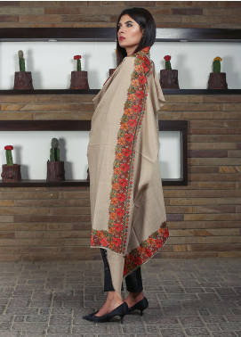 Sanaulla Exclusive Range Embroidered Pashmina Shawl 19-MIR-206 Fawn - Kashmiri Shawls