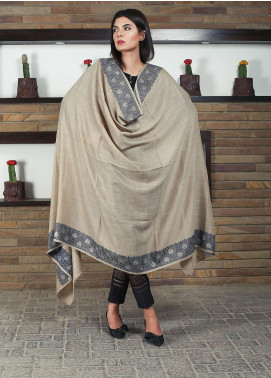 Sanaulla Exclusive Range Embroidered Pashmina Shawl 19-MIR-214 Brown - Kashmiri Shawls