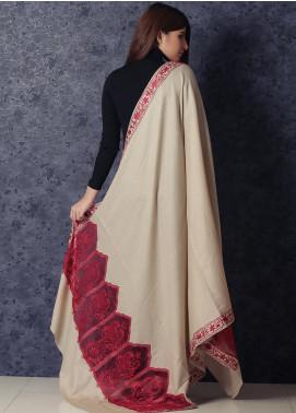 Sanaulla Exclusive Range Embroidered Pashmina  Shawl 19-MIR-235 Fawn - Kashmiri Shawls
