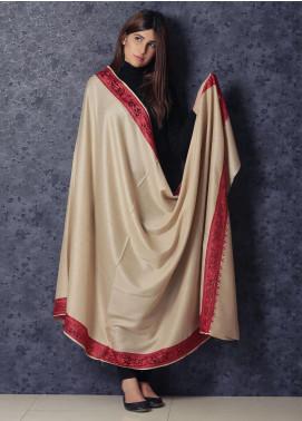 Sanaulla Exclusive Range Embroidered Pashmina  Shawl 19-MIR-236 Fawn - Kashmiri Shawls