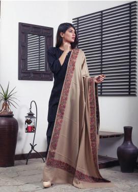 Sanaulla Exclusive Range Embroidered Pashmina  Shawl 19-MIR-238 Beige - Kashmiri Shawls
