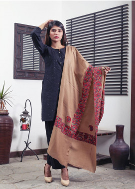 Sanaulla Exclusive Range Embroidered Pashmina  Shawl 19-MIR-242 Brown - Kashmiri Shawls