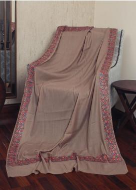 Sanaulla Exclusive Range Resham Embroidered Pashmina  Shawl 19-MIR-243 Brown - Kashmiri Shawls