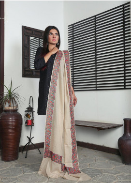 Sanaulla Exclusive Range Embroidered Pashmina  Shawl 19-MIR-245 Fawn - Kashmiri Shawls