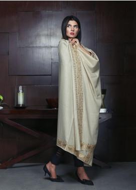 Sanaulla Exclusive Range Embroidered Pashmina Shawl 19-MIR-260 Fawn - Kashmiri Shawls
