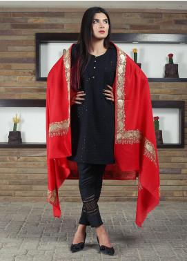 Sanaulla Exclusive Range Embroidered Pashmina Shawl 19-MIR-261 Red - Kashmiri Shawls