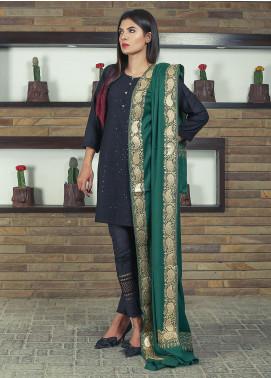 Sanaulla Exclusive Range Embroidered Pashmina Shawl 19-MIR-263 Green - Kashmiri Shawls
