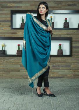 Sanaulla Exclusive Range Embroidered Pashmina Shawl 19-MIR-265 Ferozi - Kashmiri Shawls