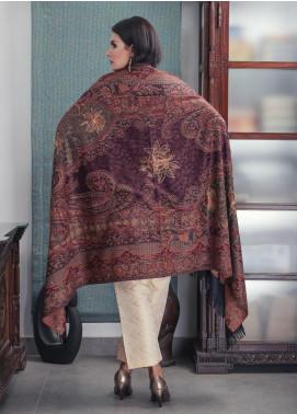 Sanaulla Exclusive Range Embroidered Pashmina  Shawl 19-MIR-279 Dark Brown - Kashmiri Shawls