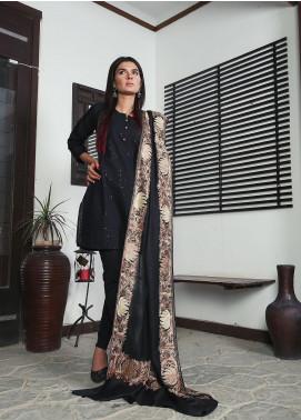 Sanaulla Exclusive Range Embroidered Pashmina  Shawl 19-MIR-290 Black - Kashmiri Shawls