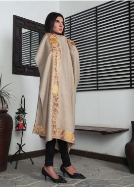 Sanaulla Exclusive Range Embroidered Pashmina  Shawl 19-MIR-291 Fawn - Kashmiri Shawls