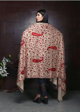 Sanaulla Exclusive Range Embroidered Pashmina Shawl 19-MIR-317 Fawn - Kashmiri Shawls