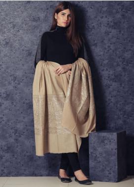 Sanaulla Exclusive Range Embroidered Pashmina  Shawl 19-MIR-325 Brown - Kashmiri Shawls