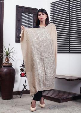 Sanaulla Exclusive Range Embroidered Pashmina  Shawl 19-MIR-329 Brown - Kashmiri Shawls