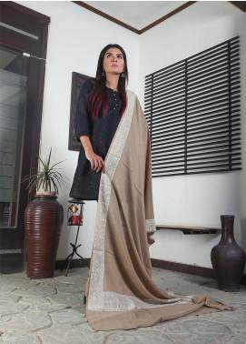 Sanaulla Exclusive Range Embroidered Pashmina  Shawl 19-MIR-333 Fawn - Kashmiri Shawls