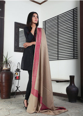 Sanaulla Exclusive Range Embroidered Pashmina  Shawl 19-MIR-339 Brown - Kashmiri Shawls