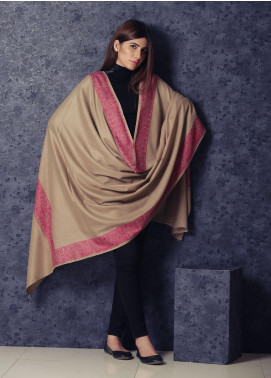 Sanaulla Exclusive Range Embroidered Pashmina  Shawl 19-MIR-340 Brown - Kashmiri Shawls