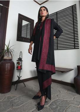 Sanaulla Exclusive Range Embroidered Pashmina  Shawl 19-MIR-351 Black - Kashmiri Shawls