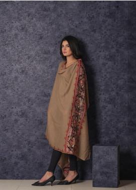 Sanaulla Exclusive Range Embroidered Pashmina  Shawl 19-MIR-362 Fawn - Kashmiri Shawls