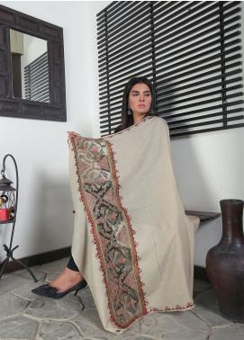 Sanaulla Exclusive Range Embroidered Pashmina  Shawl 19-MIR-364 Fawn - Kashmiri Shawls