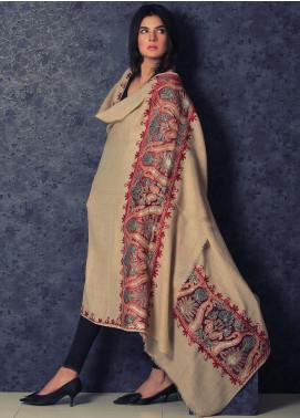 Sanaulla Exclusive Range Embroidered Pashmina  Shawl 19-MIR-365 Fawn - Kashmiri Shawls