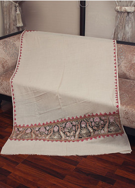 Sanaulla Exclusive Range Cut Work Embroidered Pashmina  Shawl 19-MIR-366 Fawn - Kashmiri Shawls