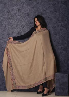 Sanaulla Exclusive Range Embroidered Pashmina  Shawl 19-MIR-371 Fawn - Kashmiri Shawls