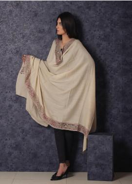 Sanaulla Exclusive Range Embroidered Pashmina  Shawl 19-MIR-373 Beige - Kashmiri Shawls