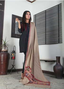 Sanaulla Exclusive Range Embroidered Pashmina  Shawl 19-MIR-379 Beige - Kashmiri Shawls