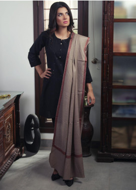 Sanaulla Exclusive Range Embroidered Pashmina Shawl 19-MIR-430 Brown - Kashmiri Shawls