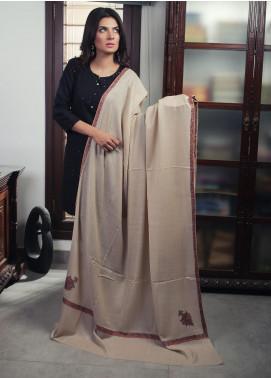 Sanaulla Exclusive Range Embroidered Pashmina Shawl 19-MIR-432 Fawn - Kashmiri Shawls