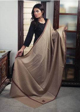 Sanaulla Exclusive Range Embroidered Pashmina Shawl 19-MIR-433 Brown - Kashmiri Shawls