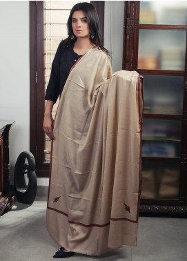 Sanaulla Exclusive Range Embroidered Pashmina Shawl 19-MIR-434 Brown - Kashmiri Shawls