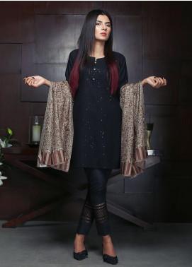 Sanaulla Exclusive Range Embroidered Pashmina Shawl 19-MIR-48 Brown - Kashmiri Shawls