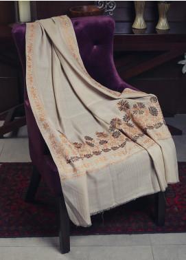 Sanaulla Exclusive Range Embroidered Pashmina  Shawl 19-MIR-92 Beige - Kashmiri Shawls