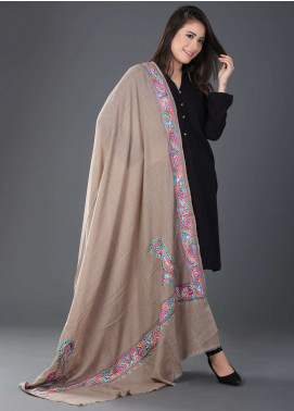 Sanaulla Exclusive Range  Pashmina Embroidered Shawl 405 - Kashmiri Shawls