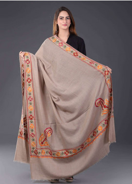 Sanaulla Exclusive Range  Pashmina Embroidered Shawl 436 - Kashmiri Shawls