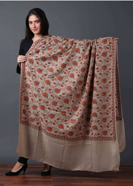 Sanaulla Exclusive Range  Pashmina Embroidered Shawl 506 - Kashmiri Shawls