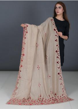 Sanaulla Exclusive Range Cutwork Pashmina  Shawl 575 Fawn - Kashmiri Shawls